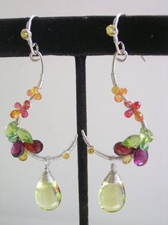 Colorful Gemstone Silver Earrings Artist Made by bellajewelsII