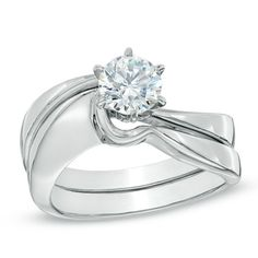 3/4 CT. Certified Diamond Solitaire Bridal Set in 14K White Gold (I-J/I1)