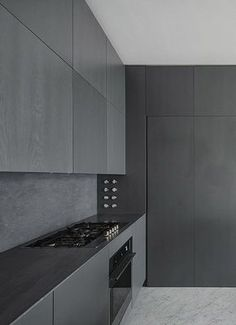 Black kitchen: Charcoal Kitchen, Modern Kitchen Design, Interiors Kitchen, Kitchener Apartment, Black Kitchens