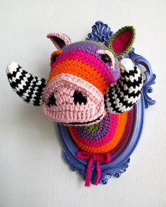 Crochet boar head in a wooden light purple frame.. $120.00, via Etsy.