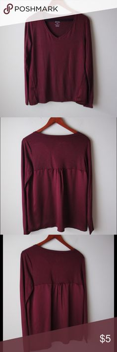 "Burgundy soft sleep top Burgundy colored super soft sleep top - contrast back fabric (polyester) - modal/spandex - new without tags! - chest across measures 18"" - total length measures 25"" - size M Gilligan & O'Malley Tops"