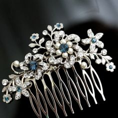 Wedding Flower Hair Comb Something Blue   Choose your Blue SABINE