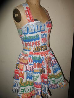 Custom Made to Order Vintage The Ultimate Football Cheerleader Fan SweetHeart Ruffled Halter Mini Pin Up Character Dress. $135.00, via Etsy.