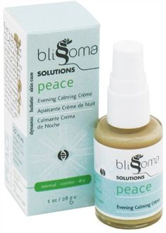 Blissoma Solutions natural skincare Peace Evening Facial Creme organic anti-inflammatory and soothing moisturizer, 1 Oz, 30 ml by Blissoma. $21.50. 100% Vegan, Certified Vegan by Vegan Action. 100% Natural. Rich and hydrating with no greasy afterfeel. 1 Oz Package. No nut ingredients. Peace facial créme is a superb, anti-inflammatory calming treatment for all skin types.  After a full day your skin has encountered many stresses. Your body will naturally work as you sle...