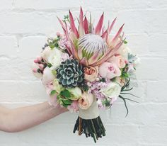 king protea bouquet by Melbourne florist Mary Mary Studio - Nouba Bouquet De Protea, Protea Flower, Succulent Bouquet, Hand Bouquet, Flor Protea, Protea Wedding, Floral Wedding, Floral Arrangements, Ideas