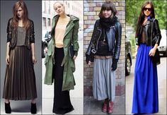 Maxi Skirt with Jacket or Coat,click for more ways to wear a maxi skirt!!!