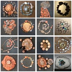 Andy Goldsworty inspired nature-art, circles and spirals with found items.