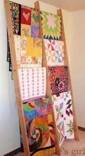 Quilt display ladder made by my husband.  Details at www.elsiesgirl.com