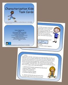 Set of thirty task cards all about characterization and character traits. The activities include:  Choosing character traits from a word bank Choosing character traits – multiple choice Describing a pictured character Writing a paragraph Listing character traits to describe a famous person Comparing two characters Completing a character web for a novel character Drawing a character with certain character traits Describing static and dynamic characters and more.