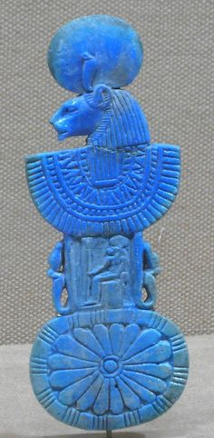 Faience Necklace counterpoise with aegis of Sakhmet  Period: New Kingdom, Ramesside. Dynasty 19–20,  1295–1070 BC, Egypt