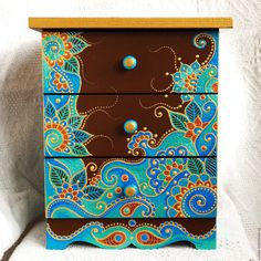 Mini chest of drawers painted chest of drawers Wooden chest of drawers Office Desktop Organizer Jewelry Box Painted Wooden Boxes, Funky Painted Furniture, Painting Wooden Furniture, Painted Drawers, Painted Chest, Wooden Chest, Art Furniture, Shabby Chic Furniture, Furniture Makeover