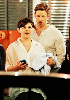Josh & Ginny on the set of Once Upon A Time - July 16, 2014