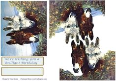 Donkey Friends on Craftsuprint designed by Elizas Emporium - Two cute donkeys looking over a wall with decoupage layers and tags - Now available for download!