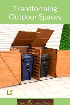Our medium trash and recycling bin storage shed fits 2 liters) large plastic bins. The item has a width of 59 inches, depth of 37 inches and height of 50 inches. Recycling Bin Storage, Trash And Recycling Bin, Trash Bins, Shed Storage, Storage Bins, Garbage Shed, Outdoor Living, Outdoor Spaces, Home Office