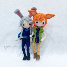 Amigurumi girl with bunny ears and boy with fox ears. (Inspiration). By…