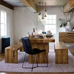 Reclaimed Wood Dining Table And Bench Uk.Farmhouse Dining Table With Reclaimed Wood Top And Bench Made. Home and Family Reclaimed Wood Dining Table, Leather Dining Chairs, Dining Table Design, Solid Wood Dining Table, Round Dining Table, Dining Decor, Outdoor Dining, Dining Room Inspiration, Dining Room Sets