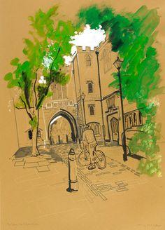 St John's Gate-St John's Lane - Lyndon Hayes, Clerkenwell Drawings, Reportage Illustration :: http://www.dutchuncle.co.uk/lyndon-hayes-images/