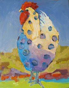 Nancy Standlee Art Blog: Free Style, a Rooster Oil Painting, 12118, or Why Girls Need Guys by Texas Contemporary Painter Nancy Standlee