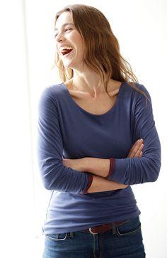 Langarm Wendeshirt, 78 port/indigo, GOTS kbA Indigo, Shirts, V Neck, My Style, Fashion, Fashion Styles, Cotton, Moda, Indigo Dye