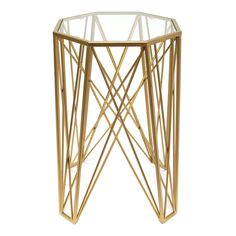 Hexagon Metal Table | Gold | 39.5x61cm by Warehouse Clearance on THEHOME.COM.AU