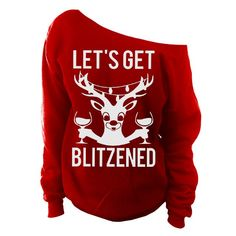0929fbd12278 Ugly Christmas Sweater - Let s Get Blizened Womens Oversized Off-Shoulder  Slouchy Sweatshirt