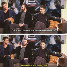 I'd give him a child❤️Chris Hemsworth, Chris Evans, and Jeremy Renner promoting Avengers: Age of Ultron. I love Renner's expression in the second picture. Marvel Jokes, Avengers Memes, Marvel Funny, Marvel Comics, Avengers Imagines, Avengers Cast, Marvel Avengers, Baby Avengers, Captain Marvel