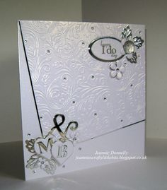 Wedding Day Card using Crafters Companion Rose Swirls Embossing Folder and dies from Memory Box Alphabet, Joy Crafts Ovals and Hearts, Creative Expressions / Sue Wilson's Complete Petals Flowers and Open Petals Leaves.