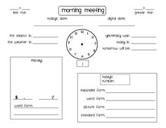 Calendar Time [Morning Meeting Form]