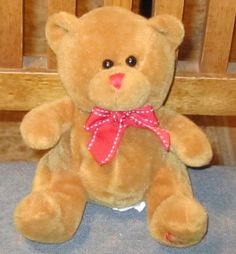 """6"""" KELLYTOY Brown Bear w/ Red Nose BOW Hearts on Foot  27 #Kellytoy"""