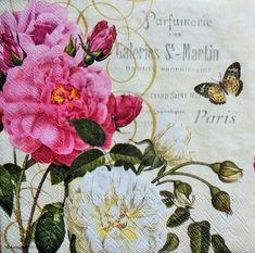 4 Roses Theme Napkins, Decoupage Napkins, Pink Rose Napkin, Romantic Napkins, Mixed Media Napkins, Collage Napkins, Lunch Napkins