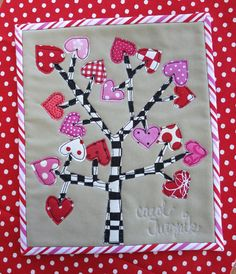 "The Valentine Tree mug rug, 7 x 8"", by Carol Turznik 