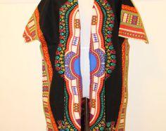 African print black dashiki jacket. by HouseofAfrika on Etsy