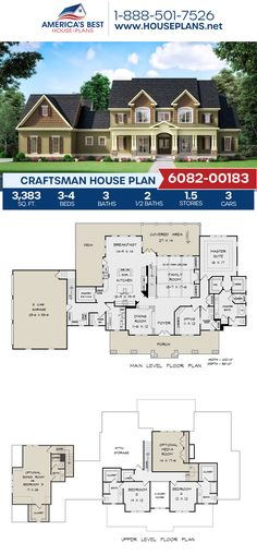 Complete with 3,383 sq. ft.. Plan 6082-00183 details a Craftsman home with 3-4 bedrooms, 3+ bathrooms, a breakfast nook, a kitchen island, a bonus room, a home office, and a media room. #craftsman #architecture #houseplans #housedesign #homedesign #homedesigns #architecturalplans #newconstruction #floorplans #dreamhome #dreamhouseplans #abhouseplans #besthouseplans #newhome #newhouse #homesweethome #buildingahome #buildahome #residentialplans #residentialhome Craftsman Style Homes, Craftsman House Plans, Best House Plans, Dream House Plans, Floor Plan Drawing, Construction Cost, Build Your Dream Home, Architectural Elements, Breakfast Nook