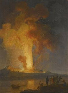 Pierre-Jacques Volaire (French, 1729-1802), Vesuvius erupting at night with spectators in the foreground. Oil on canvas, 81.5 x 59 cm.