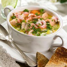 Суп с рыбой и креветками