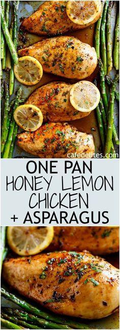 One Pan Honey Lemon Chicken Asparagus Recipe