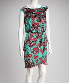 Jessica Simpson Collection - Green Blossom Cap-Sleeve Dress [You're so pretty, pattern!]