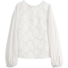 Giambattista Valli Floral Lace Blouse ($824) ❤ liked on Polyvore featuring tops, blouses, white, white floral top, lace top, lace blouse, sleeve blouse and floral print blouse