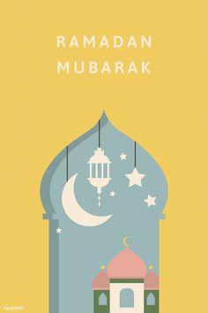 Mubarak card with mosque vector Tarjetas Ramadan, Ramadan Cards, Ramadan Images, Ramadan Day, Ramadan Greetings, Eid Mubarak Greetings, Islam Ramadan, Images Eid Mubarak, Ramadan Mubarak Wallpapers