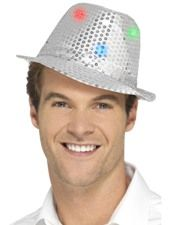 Flashing Sequin Gangster Hat - Silver. A fun hat to wear at a Music Festival for a great effect. http://www.novelties-direct.co.uk/flashing-sequin-gangster-hat-silver.html
