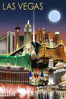 Las Vegas, Nevada - Las Vegas at Night - Lantern Press Artwork Giclee Art Print, Gallery Framed, Silver Wood), Multi Retro Poster, Vintage Travel Posters, Voyage Usa, Photo Vintage, Poster Prints, Art Prints, Las Vegas Nevada, Oahu, Wyoming