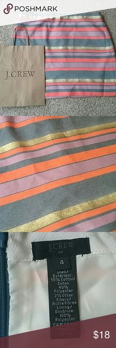 J. Crew skirt J. Crew *collection* Stripe skirt Size 4 Gold glitter, purple, blue, orange stripe Mini skirt Excellent condition  Super cute J. Crew Skirts Mini