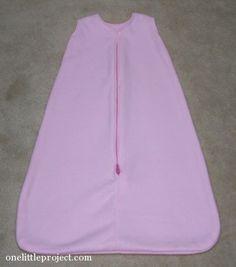 homemade pink fleece sleep sack