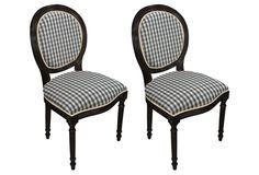 Black Hattie Gingham Side Chair, Pair