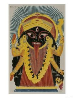 Résultats de recherche d'images pour « Mahakali - The Cosmic Form of the Goddess Kali . Mahakali Folk Painting from the Village of Madhubani (Bihar), India Kali Hindu, Hindu Art, Indian Gods, Indian Art, Durga, Hanuman, Kali Goddess, Black Goddess, Divine Mother