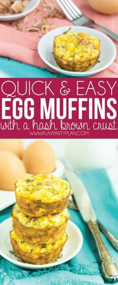 These egg muffins with a hashbrown crust are the perfect make ahead breakfast! Just fill them with bacon or sausage, bake, and pop in the freezer and reheat during the week. So easy! Want to make a low carb version that works for Keto or Whole Simply t Easy Breakfast Muffins, Breakfast Bake, Make Ahead Breakfast, Breakfast Egg Muffins With Hashbrowns, Free Breakfast, Egg Bake With Hashbrowns, Camping Breakfast, Healthy Muffins, Egg Recipes