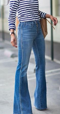 stripes. flared jeans.