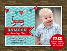 Red Wagon Birthday Invitation - Printable - FREE pennant banner and thank you card with purchase