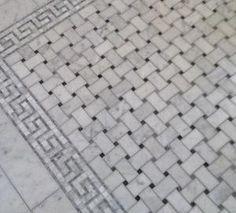 Basketweave marble bath floor tiles with greek key border. by boernecheryl