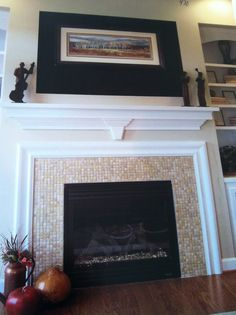 Fireplace with built in on the side.different tile preferred though Fireplace Built Ins, Fireplace Ideas, Fireplaces, Tile, Household, Building, Home Decor, Fireplace Set, Fire Places